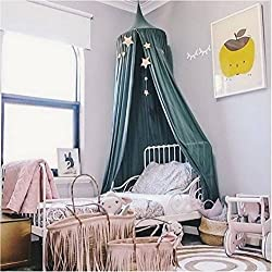 Ciel de Lit, Restbuy Baldaquin Ciel de Lit Moustiquaire en Coton Tente de Lecture Jeu pour Bébé Enfant Fille Garçon Décoration Chambre (Vert foncé)