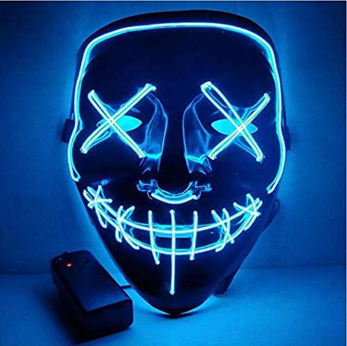 euchten Maske LED Leucht Leuchtmaske Make Up Partymaske mit Batterie Box Kostüme Mask Weihnachten Tanzen Party Nacht Pub Bar Klub ()