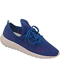 Adult Blue Knit Patterned Upper Lace Up Tubular Runner Shoes 5-10 Women