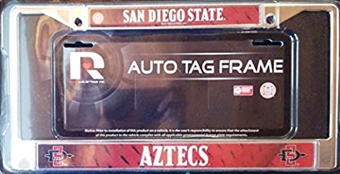 San Diego State Aztecs LBL Metal Chrome License Plate Tag Frame Cover University by Rico Industries (State University Chrome Frame)
