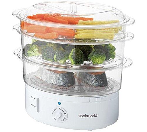 Cookworks 10102 3 Bowl Steamer - White