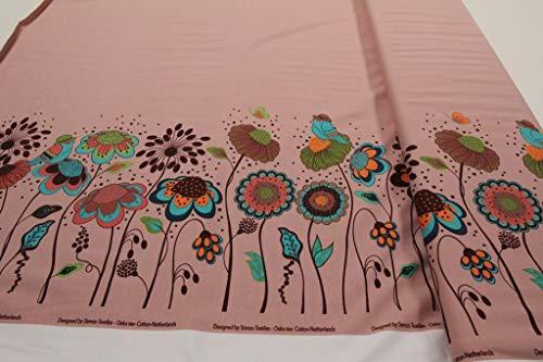 Pinidi Stoff/Meterware ab 25cm / Ökotex 100 / Jersey Bordüre Blumen Vögel Altrosa