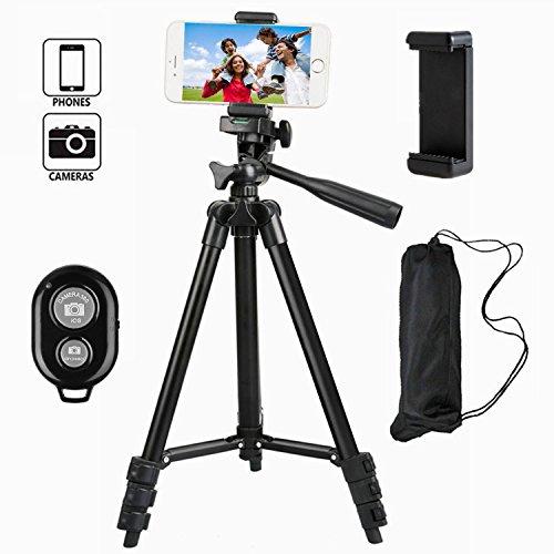 Tefeng, TF-3120, Tripode Para la Camara con Control Remoto Bluetooth y Adaptador para iPhone Samsung e Altre Smartphones (Negro)