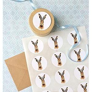 Hase Sticker A4 Bogen, 15 Stk. ca.5 cm Durchmesser, Häschen Aufkleber, selbstklebende runde Etiketten mit Feldhasen Motiv, Ostern Geschenk Verpackung, Papeterie
