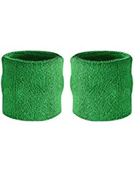 Suddora - Muñequeras, algodón, 2 unidades Verde verde