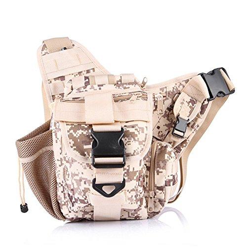 wewod Tactical marsupio con borraccia e cintura regolabile/Mode multifunzione cintura borsa Custodia per campeggio escursionismo Outdoor, CP Tarnung, 28*20*28 cm Digitale Wüste
