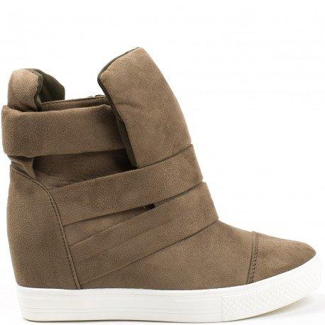 Ideal Shoes - Baskets montantes semi-compensées Vanite Taupe