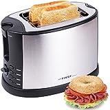 TZS First Austria 2 Scheiben Edelstahl Toaster mit Brötchenaufsatz | Bagel-Funktion und Nachhebe-Funktion | Isoliertes Gehäuse | Krümelschublade | Toast-Zentrierung | Modernes edles Design | schwarz