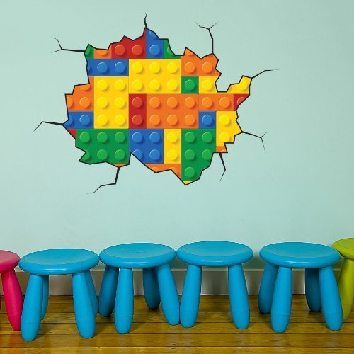 Volle Farbe Bau Block Ziegel Wandaufkleber Kinder Schlafzimmer Aufkleber Jungen - Small