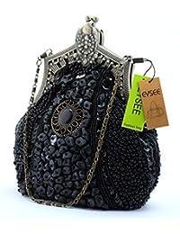 Damen Clutch Samen-Perlen Abendtasche Hochzeit Bead-hand-knit Abschlussball Party-Abend Handtasche