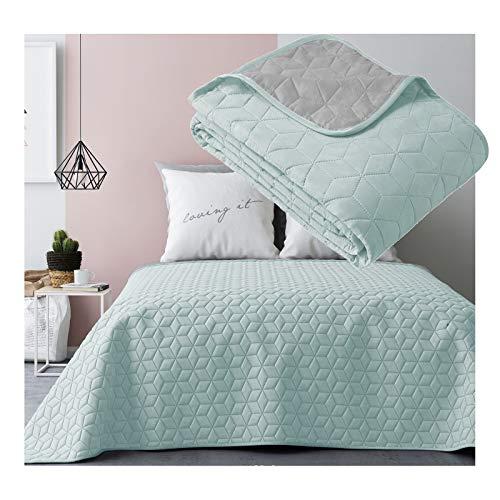 JEMIDI Tagesdecke Bett und Sofaüberwurf gesteppt 220cm x 240cm Überwurf Tagesdecke Sofa Couch Decke Husse Überwürfe Steppdecke XL XXL (Variante 2 Mint/Grau)