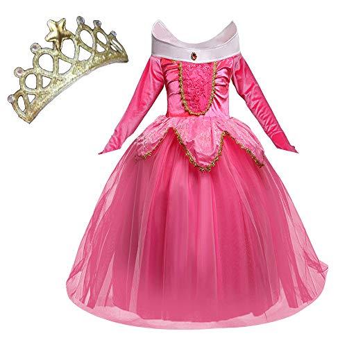 NNDOLL Aurora Principessa Vestito Sleeping Beauty Costume Bambina Carnevale Abito Partito Ragazza Cerimonia (Rosa 140/ 5 - 6 Anni)