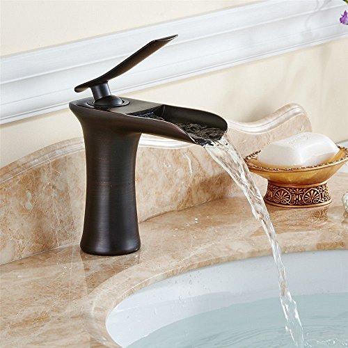 Alte Hahn (ETERNAL QUALITY Badezimmer Waschbecken Wasserhahn Messing Hahn Waschraum Mischer Mischbatterie Tippen Sie auf die Kupfer Schwarz Bad Armatur Waschtisch Armatur alte Armat)