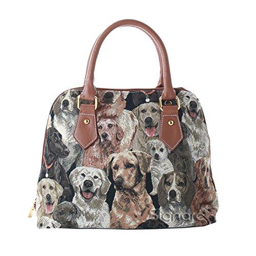 Mittelgroße Handtasche/Schultertasche für Damen (Hunde) - im Gobelin Stil -