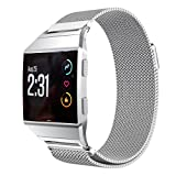 OVERDOSE Fitbit Ionic Uhrenarmband Soft Milanese Edelstahl Uhrenarmband mit einzigartigem Magnetverschluss Handgelenkersatz & Adjustbale Armband Smart Fitness Uhrenarmband für Fitbit Ionic Uhr