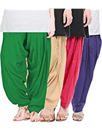 Crafts 100% Pure Solid Cotton Semi Patiala Salwar Bottoms Indoor Outdoor For Women's & Girls( Color Green / Baby...