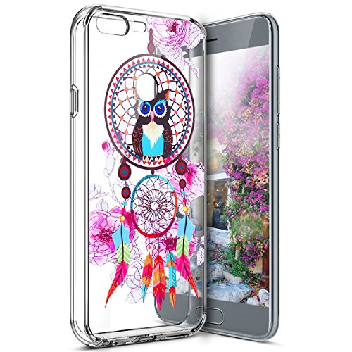 Surakey Coque Huawei Honor 9 Transparente Silicone Gel TPU Souple Housse Etui de Protection Bumper Dessin de Belle Fleur Papillon Crystal Clear Téléphone Couverture pour Huawei Honor 9, Hibou