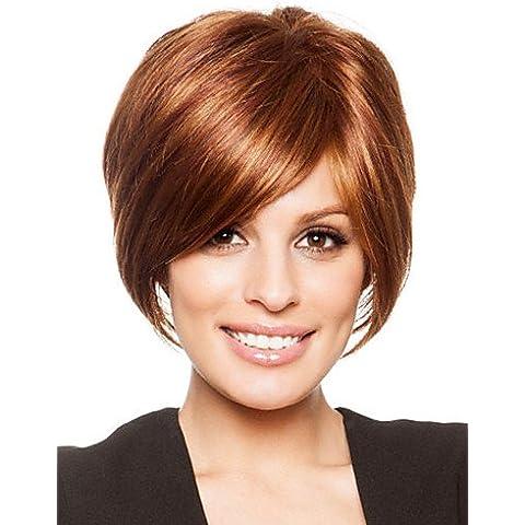 Pelucas de la manera conveniente y cómodo bob clásico superior del cabello humano remy virginal monofilamento (1 ) sin tapa peluca corta recta