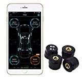 KDator TPMS Bluetooth Tire Pressure Temperature Gauge Accurate Detection Monitoring Alarm with 4 External Sensors(Support Android & IOS)