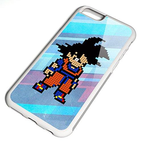 Smartcover Case Pixel Goku z.B. für Iphone 5 / 5S, Iphone 6 / 6S, Samsung S6 und S6 EDGE mit griffigem Gummirand und coolem Print, Smartphone Hülle:Iphone 5 / 5S schwarz Iphone 6 / 6S weiss