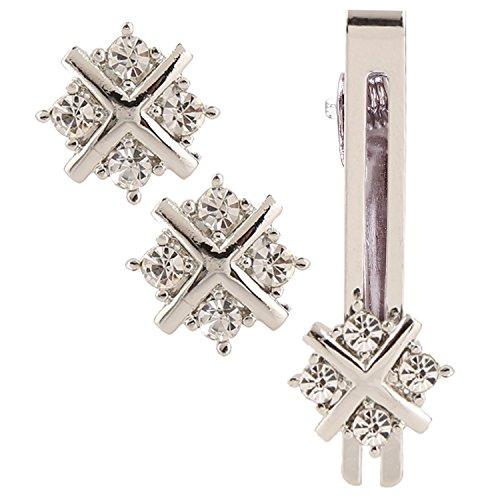 Sanjog Impressive Diamond Crystals Silver Cufflink With Matching Tie Pin for Men...