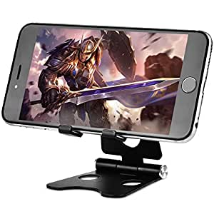 Cell Phone Stand Foldable Aluminium Universal Tablet Stand Cradle Holder Dock for iPhone iPad Samsung HUAWEI E-Reader Black