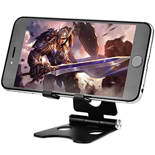 TinMiu Handy Ständer 2 in 1 Multi-Winkel Faltbarer Aluminium Universal Ständer Einstellbare Desktop Smartphone Standhalter für iPhone, iPad, Samsung, Tablets, MacBook, Laptops (Schwarz)