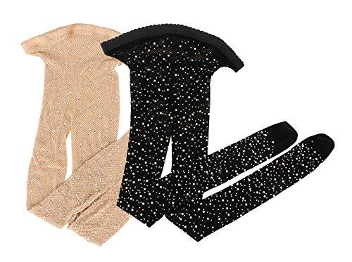 Walant Strass Netzstrumpfhose Sexy High Taille Damen Fischnetz Socken Strümpfe Feinstrumpfhose Strumpfhosen (Einheit, 2 Paar(1 Schwarz+ 1 Farbe))
