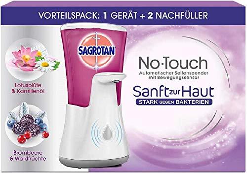 Sagrotan No-Touch Automatischer Seifenspender Weiß - Inkl. Sagrotan Nachfüller Lotusblüte & Kamillenöl - 1 x 250 ml Flüssigseife