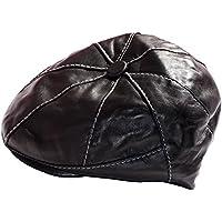 Dazoriginal Cappello da Uomo Baker boy Newsboy Cap di Cuoio Cappello Uomini Cappelli Berretti Cappello (Genuino Nero Piastra)