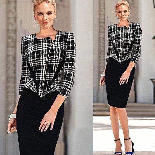 Minetom Damen Kleid mit 3/4 Arm Spleißen Reissverschluss vorne Business Knielanges Abendkleider Schwarz