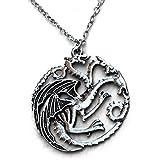 Triple Drachen Anhänger Halskette TV inspiriert Spiel der Throne Haus Targaryn Emblem in schwarz Samt H & H UK Tasche