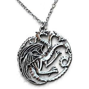 Pendente del Drago Collana TV Ispirato of Gioco di Troni Casa Targaryen Emblem On Borsa in Velluto Nero