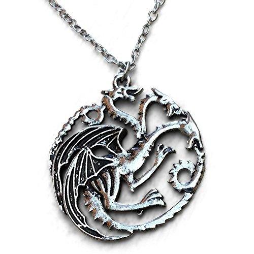 nger Halskette TV inspiriert Spiel der Throne Haus Targaryn Emblem in schwarz Samt H & H UK Tasche ()