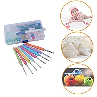 Crochet Set of High Quality Aluminium with Colourful Soft Rubber Grip Handles