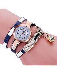 LHWY Las Mujeres de Moda Encanto Abrigo Alrededor De Reloj De Pulsera De Cuarzo De Cuero Artificial (Blue)