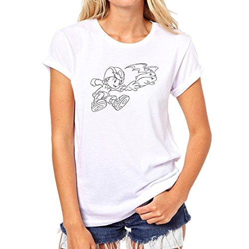DigimonPatamon Angemon Angewoman Playing With Human Damen T-Shirt Weiß