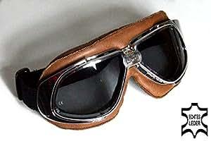 Lunettes de moto brun, lentilles teinté en fumée, chrome montures de lunettes, CUIR VÉRITABLE