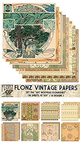 Paper Pack (16sh 25x25cm) Art Nouveau Frames Flourishes FLONZ Vintage
