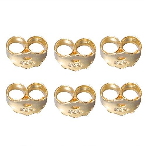 Healifty 6pcs Ohrring verschlüsse Ohrmutter Ohrstopper Ohrstecker Sicherheit Rücken (Gold) - Gold-ohrring-stopper