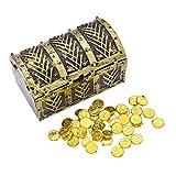 YNuth Pirat Schatztruhe Schatzkiste mit Goldmünzen Kunststoff Aufbewahrung Vintage