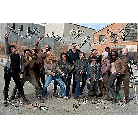 Foto autografiada por 14 miembros del reparto de The Walking Dead, gran calidad, tamaño A4