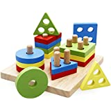 Rolimate Preschool Educational Wooden Shape Color Recognition Geometric Board Block Stack Sort Chunky Puzzle Toys, Birthday gift toy for age 3 4 5 Years Old and Up Kid Children Baby Toddler Boy Girl