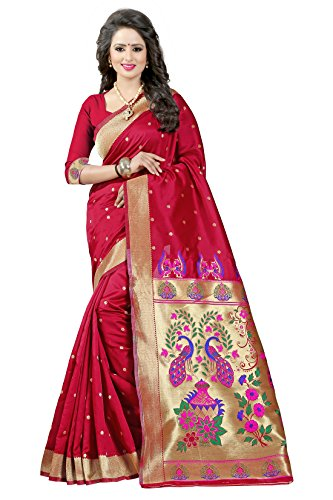 Shree Sanskruti Tassar Silk Saree With Blouse Piece (Red_Free Size)