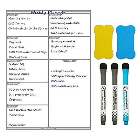 magnétique Planning hebdomadaire 40,6x 29cm par Nardo Visgo–réfrigérateur Tableau de messages au quotidien pour planification de repas et liste de courses, 3marqueurs effaçables et 2Gommes inclus (Gris)