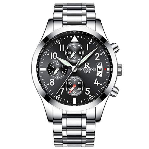 RORIOS Herren Armbanduhr Analog Quarzuhr Kalender Edelstahl Metallarmband Lap Timer Stoppuhr (Wasserdicht-uhr-glühen In Der Dunkelheit)