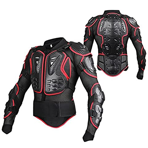 Motorcycle Motorbike Armor Full Body Armor Armour Protector Pro Street Motocross ATV Guard Shirt Jacket with Back Protection Black & Red 2XL