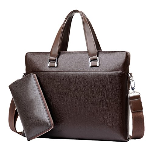 Mens Business Bag Bag Handbag Cloth Bag Briefcase Casual Bag A4 File Bag Borsa Computer Marrone + Borsa