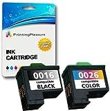 2 Compatibili Lexmark 16 & 26 Cartucce d'inchiostro per Lexmark I3 X1100 X1150 X1170 X1180 X1190 X1195 X1200 X1270 X2250 X72 X74 X75 Z13 Z23 Z25 Z25L Z35 Z515 Z617 Z640 - Nero/Colore, Alta Capacità