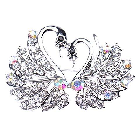 V-EWIGE Elegant Swan Lover Swarovski Element Crystal Brooch Pin Pure